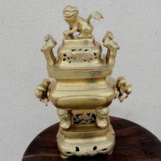 Arte: INCENSARIO O SAHUMADOR ORIENTAL CON LEON FOO, REALIZADO EN BRONCE SXIX . Lote 168815112