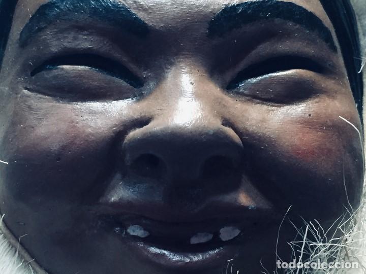 Arte: CARA ROSTRO ESQUIMAL ESKIMO RESINA MADERA PIEL PELO ALASKA 1973 23X22X8CMS - Foto 8 - 169027520