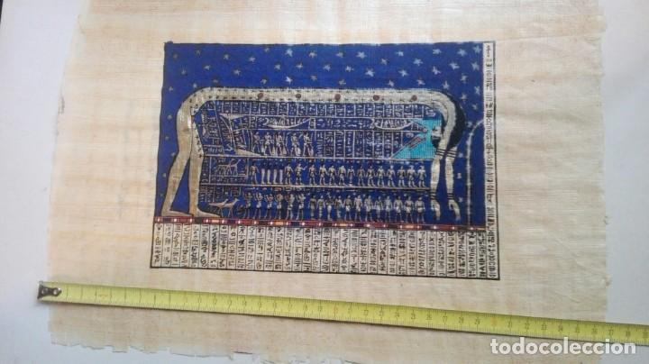 Arte: tres papiros traidos de egipto comprados en giza en el año 1988 con carpeta original de la tienda - Foto 2 - 169038316