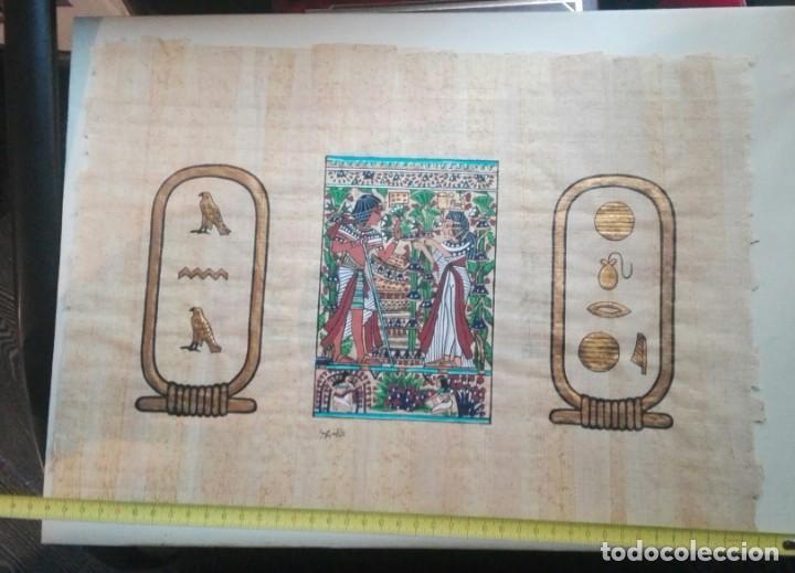 Arte: tres papiros traidos de egipto comprados en giza en el año 1988 con carpeta original de la tienda - Foto 4 - 169038316