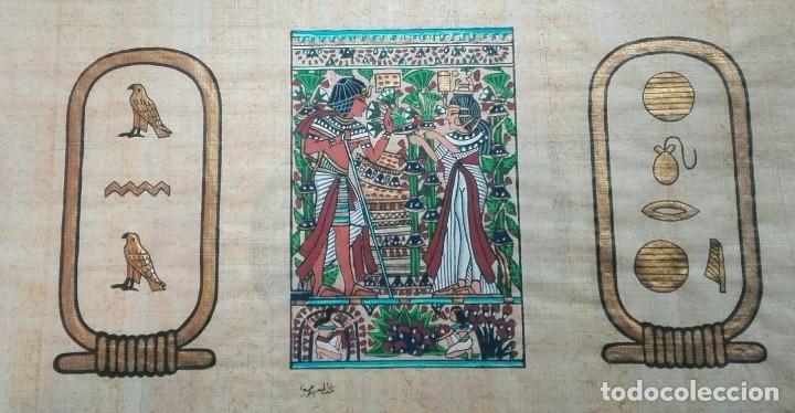 Arte: tres papiros traidos de egipto comprados en giza en el año 1988 con carpeta original de la tienda - Foto 5 - 169038316