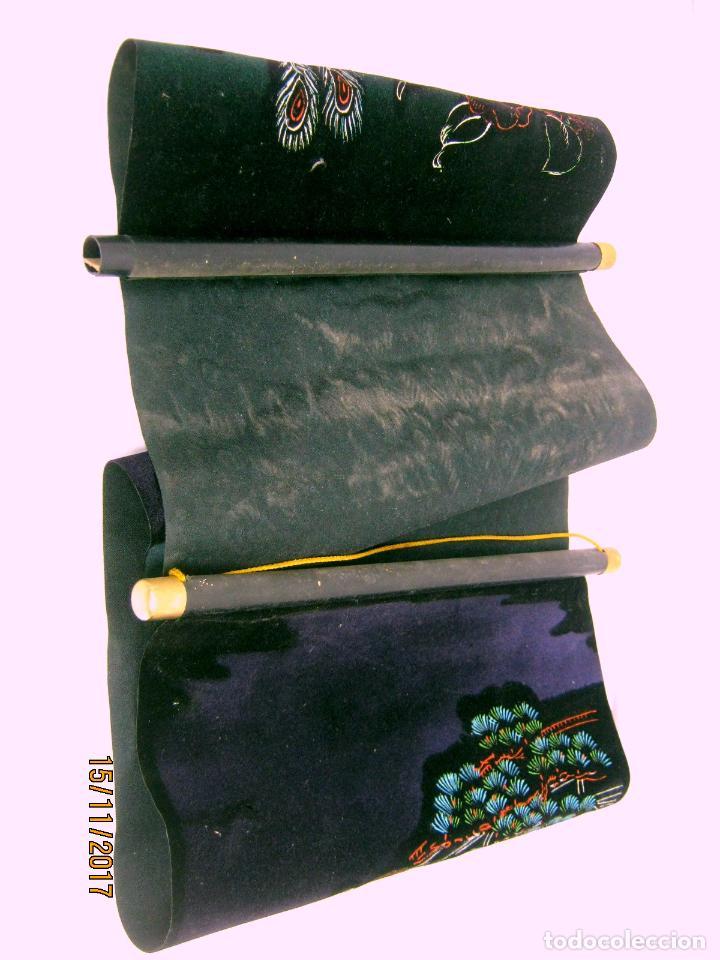 Arte: Vintage tapiz tipo estandarte arte Japon 84 cm Pavo real - Foto 3 - 169236606