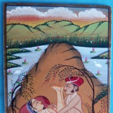 Arte: PINTURA EROTICA INDU , INDIA , RAJASTHAN , SOBRE MARMOL , MIDE 10 X 15 CMS. ORIGINAL , C3. Lote 170374700