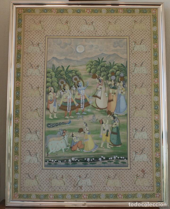MAGNIFICA ENORME PINTURA A MANO SOBRE SEDA 102 X 77 CM – ORIGEN HINDÚ (Arte - Étnico - Asia)