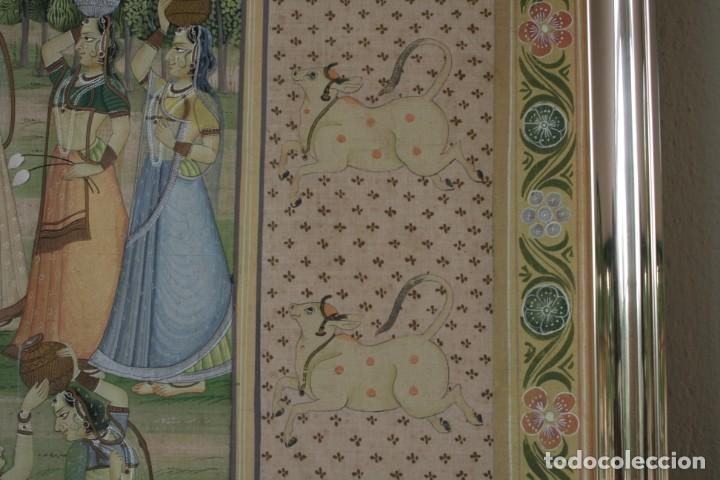 Arte: MAGNIFICA ENORME PINTURA A MANO SOBRE SEDA 102 X 77 CM – ORIGEN HINDÚ - Foto 3 - 170516080
