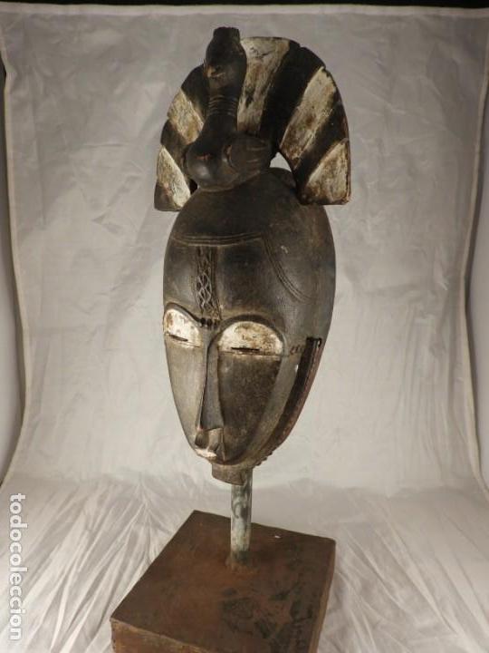 Arte: MASCARA AFRICANA BOULE CON POLICROMIA CON SOPORTE METALICO - Foto 7 - 170582235