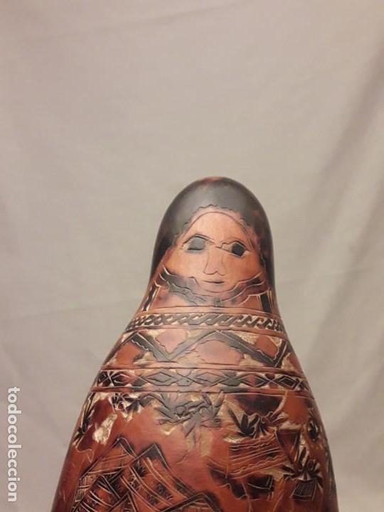Arte: Bella gran calabaza tallada con preciosos motivos Andinos Perú - Foto 2 - 229284005