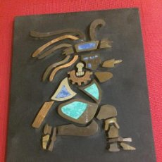 Arte: ARTE AZTECA - MAYA - MEXICO - DIOS AZTECA EN LATON Y COBRE - AÑOS 60 - MEDIDAS; 30 X 24. Lote 170992033