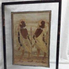 Arte: BELLO CUADRO MARQUETERÍA AFRICANA CAZADORES ENMARCADO ENTRE DOS CRISTALES CON MOLDURA. Lote 171191608