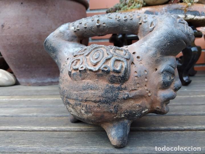 Arte: Vasija en forma de trípode. Barro, terracota...¿precolombina? - Foto 4 - 171325952
