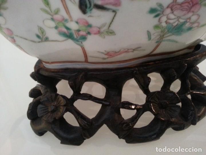 Arte: Antigua pieza China, detalles insectos y flores- con marca - Foto 6 - 171430792