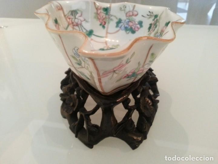 Arte: Antigua pieza China, detalles insectos y flores- con marca - Foto 7 - 171430792