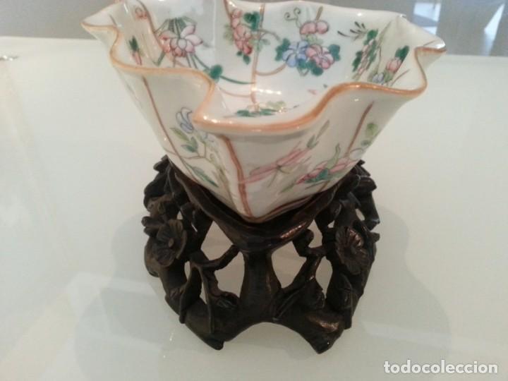 Arte: Antigua pieza China, detalles insectos y flores- con marca - Foto 8 - 171430792