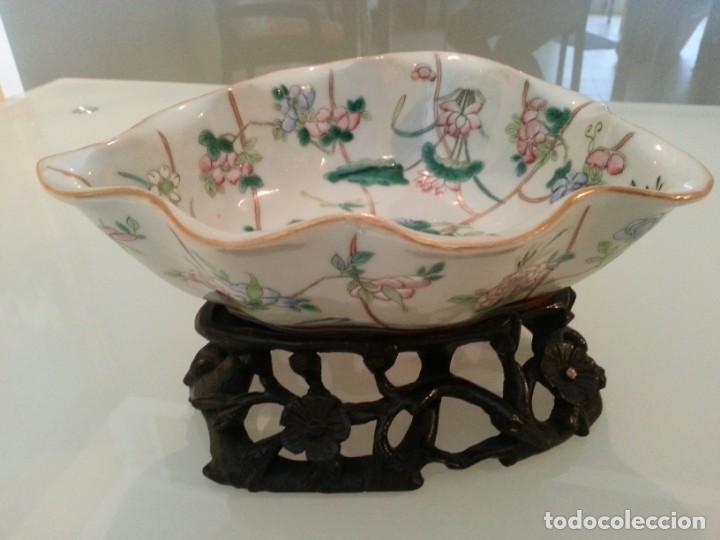 Arte: Antigua pieza China, detalles insectos y flores- con marca - Foto 9 - 171430792