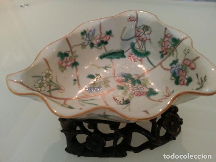 Arte: Antigua pieza China, detalles insectos y flores- con marca - Foto 10 - 171430792