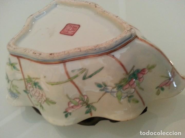 Arte: Antigua pieza China, detalles insectos y flores- con marca - Foto 15 - 171430792