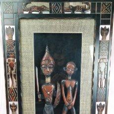 Arte: FANTÁSTICAS FIGURAS MADERA Y MARCO TALLA AFRICANA 85/50CM. Lote 172069448