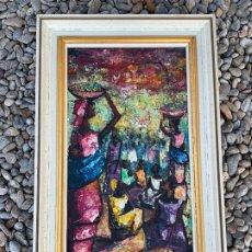 Arte: ESPECTACULAR PINTURA AFRICANA, PINTADA SOBRE TELA DE SACO DE CAÑA DE AZUCAR. FIRMADO. MIDE 49X29CMS. Lote 172220654