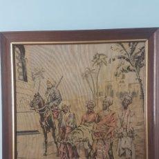 Arte: TAPIZ MARROQUÍ CON TEMA INDIO DE CACERÍA DE TIGRE. 1920-1921. 43X40 CM.. Lote 172396447