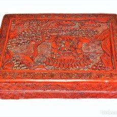 Arte: CAJA EN LACA CHINA TALLADA. PAPIER MACHÉ. LACA ROJA. CHINA. SIGLO XIX. Lote 172766123