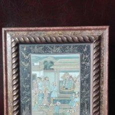Arte: SEDA PINTADA CON PERSONAJES HINDÚ. Lote 173119628
