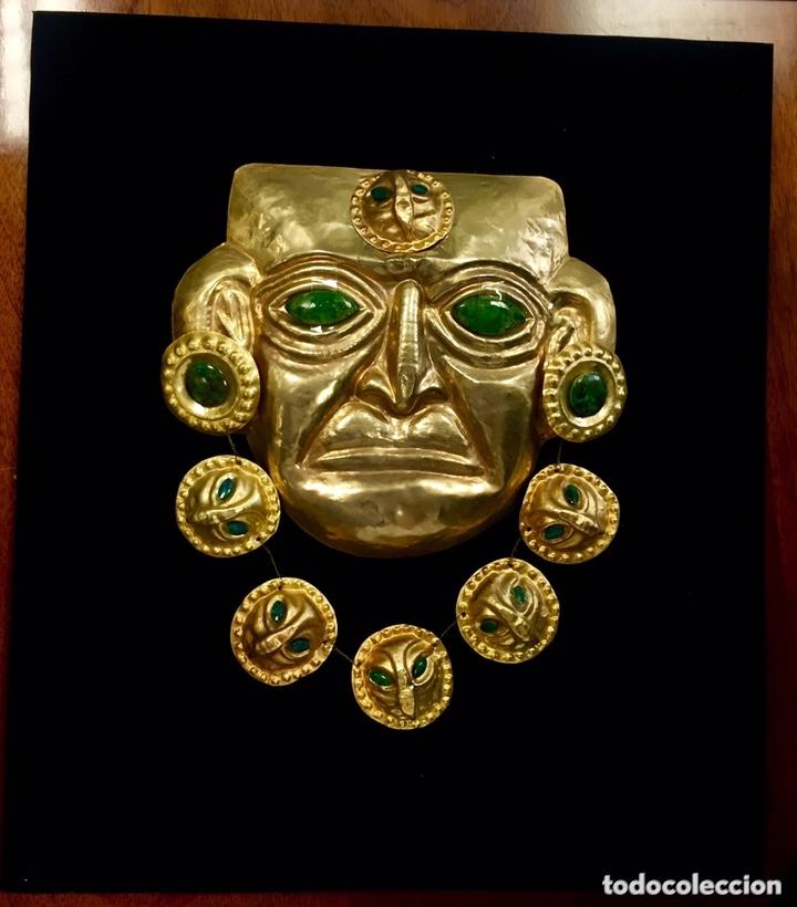 IDOLO INCA (IMITACION). CHAPA RECUBIERTA DE ORO 24 KILATES. (Arte - Étnico - América)