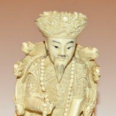 Arte: FIGURA DE EMPERADOR - CHINA - HUESO - BELLAS ORNAMENTACIONES. Lote 173605949