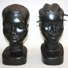 Arte: PAREJA DE CABEZAS AFRICAS DE TAMAÑO REAL REALIZADAS EN EBANO. Lote 173783827