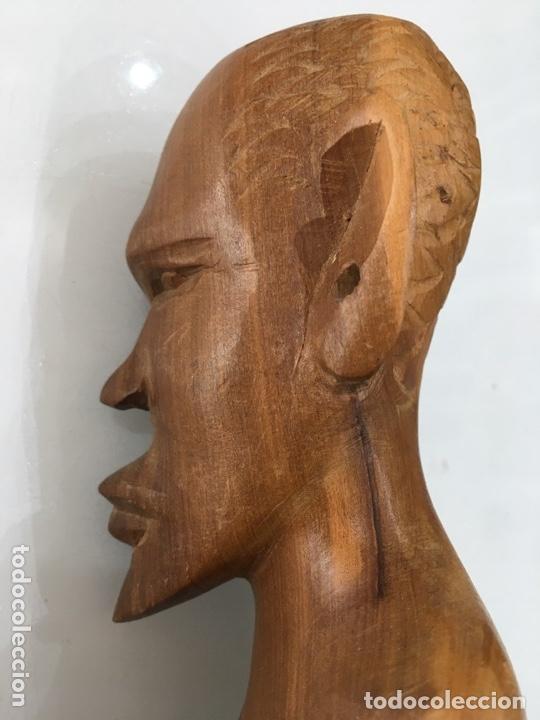 Arte: TALLA DE MADERA BUSTO AFRICANO - Foto 8 - 173901558