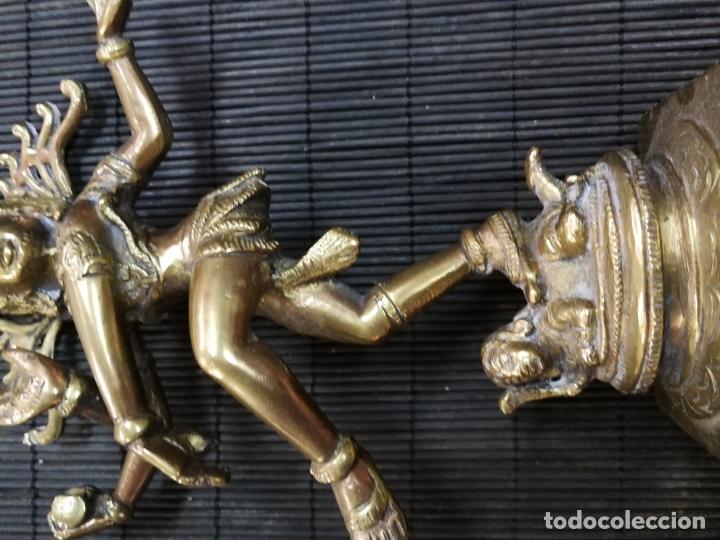 Arte: ANTIGUA ESPECTACULAR ESCULTURA DE BRONCE DE ARTE INDIA DIOSA KALI SHIVA SACRICIFIO RITUAL RELIGIOSO - Foto 3 - 174097817