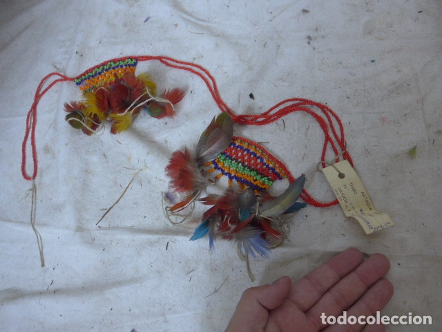 ANTIGUO PLUMAJE PLUMAS DE INDIO DE TRIBU WAI WAI DEL AMAZONAS, ORIGINAL. (Arte - Étnico - América)