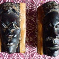 Arte: DOS BUSTOS (HOMBRE Y MUJER), EN MADERA DE ÉBANO TALLADA A MANO.TRIBU MASAI KENIA. Lote 175517789