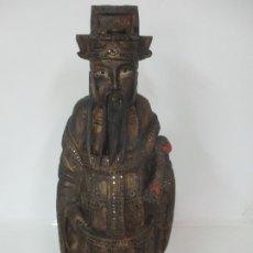 Arte: PRECIOSA ESCULTURA - EMPERADOR, SABIO - DINASTIA QING (1644-1911) - TALLA DE MADERA DORADA. Lote 175524655