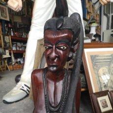 Arte: GRAN TALLA AFRICANA DE MADERA. MUJER. 92CM. Lote 175705722