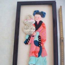 Arte: CUADRO JAPONÉS REALIZADO CON TÉCNICA KIMEKOMI O PATCHWORK CON TELAS DE JAPÓN. Lote 175767638