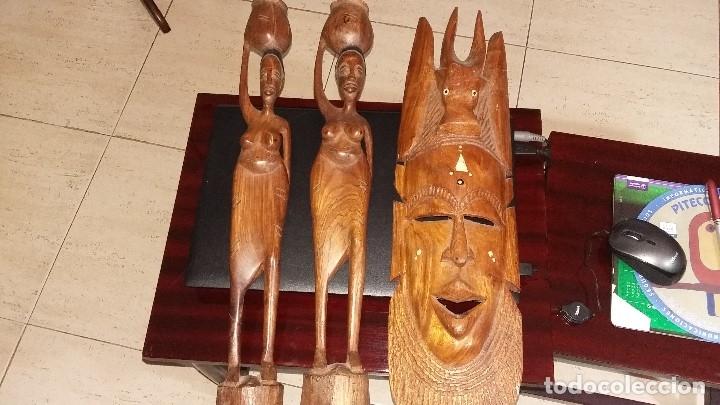 3 PIEZAS FIGURAS AFFRICANAS ALTURA ENTRE 52 Y 54 CENTIMETROS VER FOTOS (Arte - Étnico - África)
