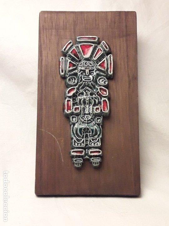 BELLO CUADRO CERÁMICA VIDRIADA ANTIGUO CHAMÁN O CACIQUE VENEZUELA (Arte - Étnico - América)