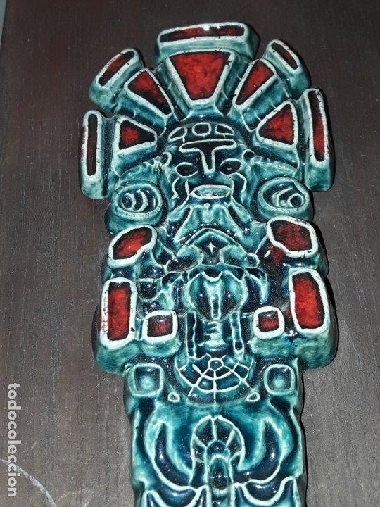 Arte: Bello cuadro cerámica vidriada antiguo chamán o cacique Venezuela - Foto 9 - 229284055