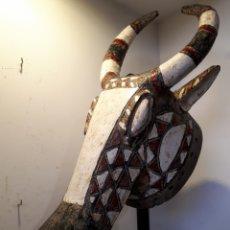 Arte: MÁSCARA AFRICANA CON SOPORTE BURKINA FASO. Lote 176060699