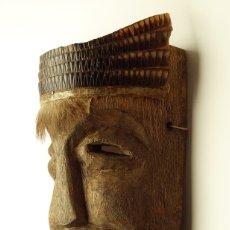 Arte: ANTIGUA Y ORIGINAL MÁSCARA AFRICANA ETNIA BAKUBA KUBA ÁFRICA REPÚBLICA CONGO MADERA Y PIEL SERPIENTE. Lote 176103262