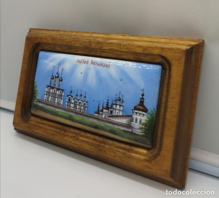Arte: Bella imagén antigua Rostov Veliky pintado a mano sobre porcelana enmarcado en madera maciza . - Foto 4 - 176118754