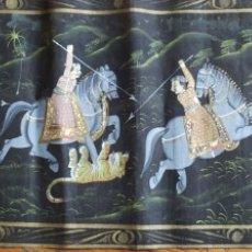 Arte: GRAN TELA INDIA PINTADA A MANO. 1 METRO X 33 CM ESCENAS DE CAZA. Lote 176178533