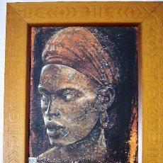 Arte: PAREJA DE CUADROS AFRICANOS IMPRESOS SOBRE TABLA. Lote 176266474
