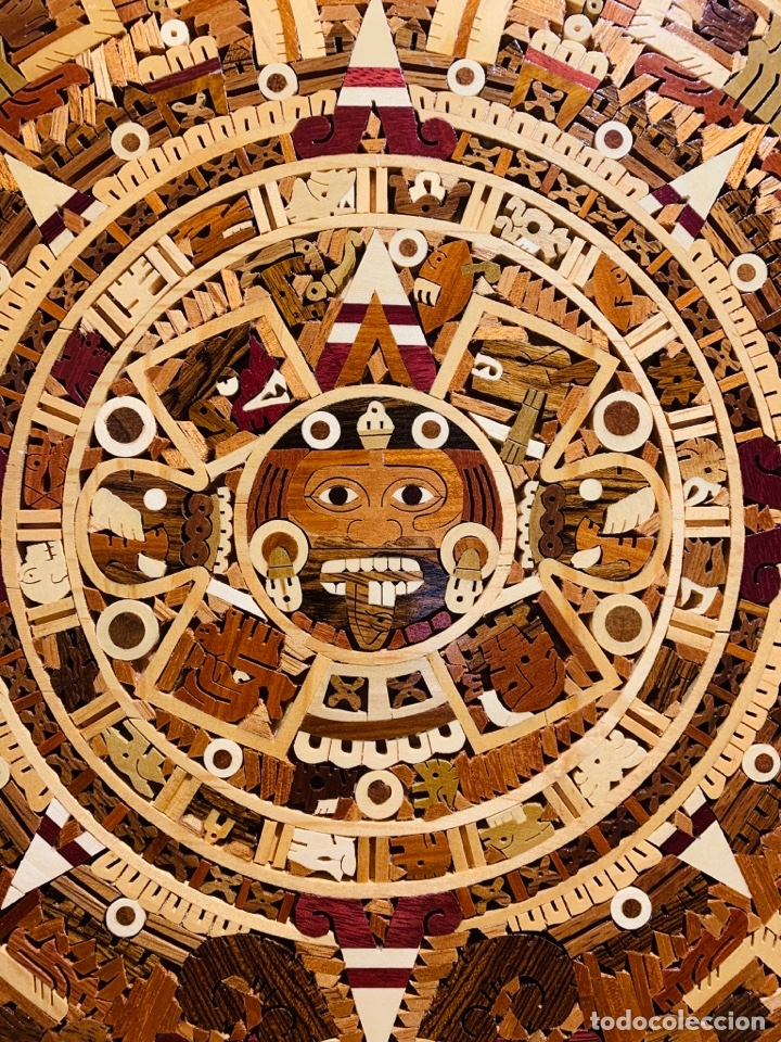 Arte: Calendario Azteca. Maderas finas tropicales. Alta calidad. Impecable. - Foto 2 - 177239413
