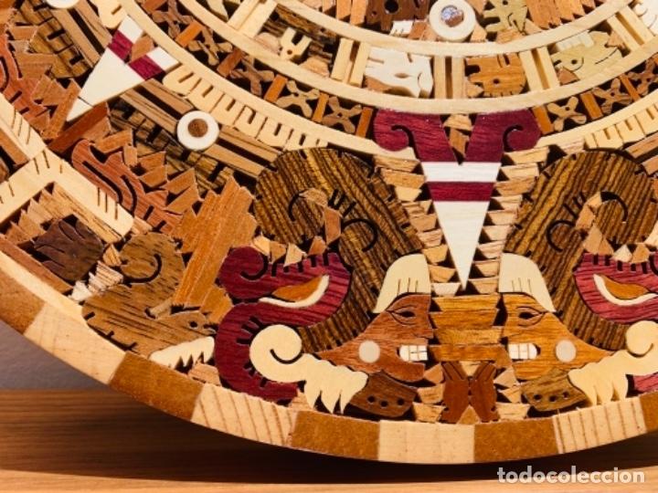 Arte: Calendario Azteca. Maderas finas tropicales. Alta calidad. Impecable. - Foto 5 - 177239413