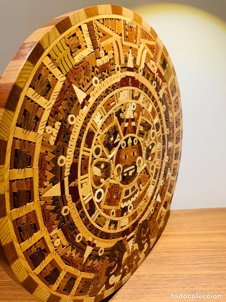 Arte: Calendario Azteca. Maderas finas tropicales. Alta calidad. Impecable. - Foto 8 - 177239413