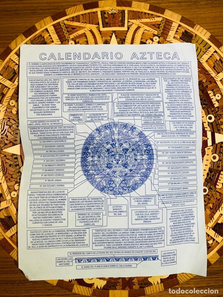 Arte: Calendario Azteca. Maderas finas tropicales. Alta calidad. Impecable. - Foto 11 - 177239413