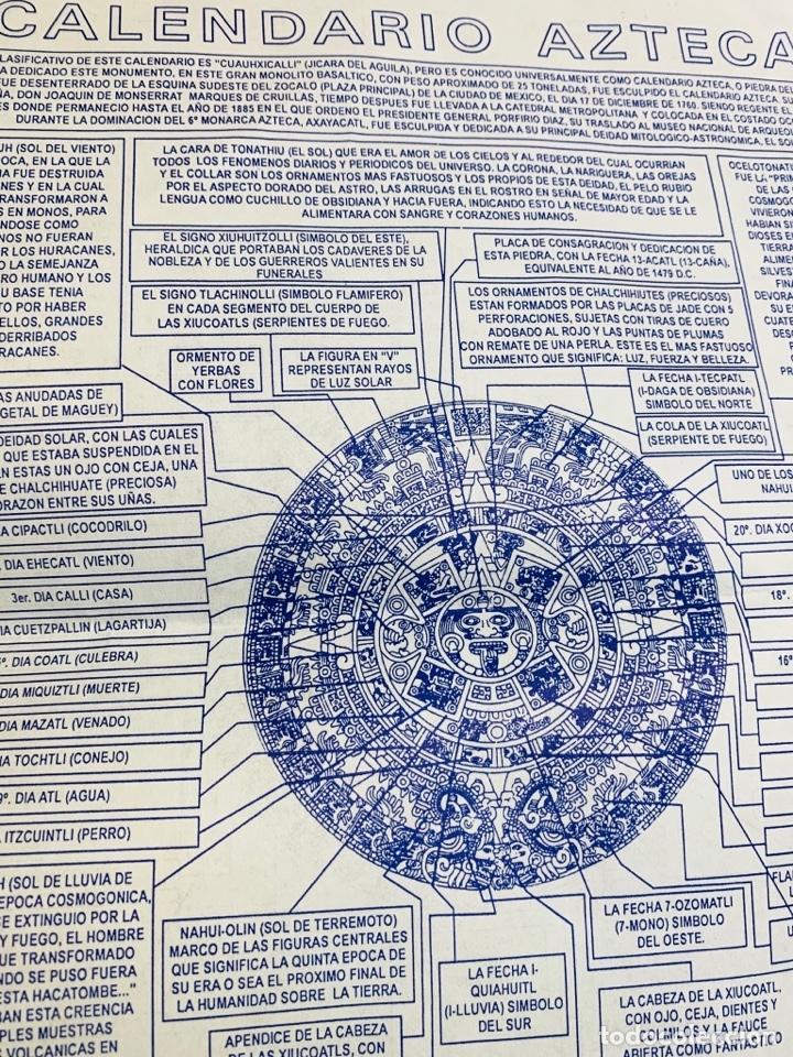 Arte: Calendario Azteca. Maderas finas tropicales. Alta calidad. Impecable. - Foto 12 - 177239413