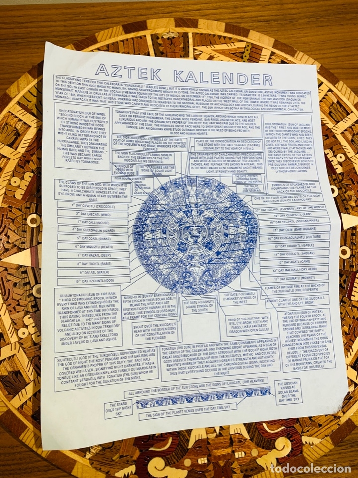Arte: Calendario Azteca. Maderas finas tropicales. Alta calidad. Impecable. - Foto 14 - 177239413