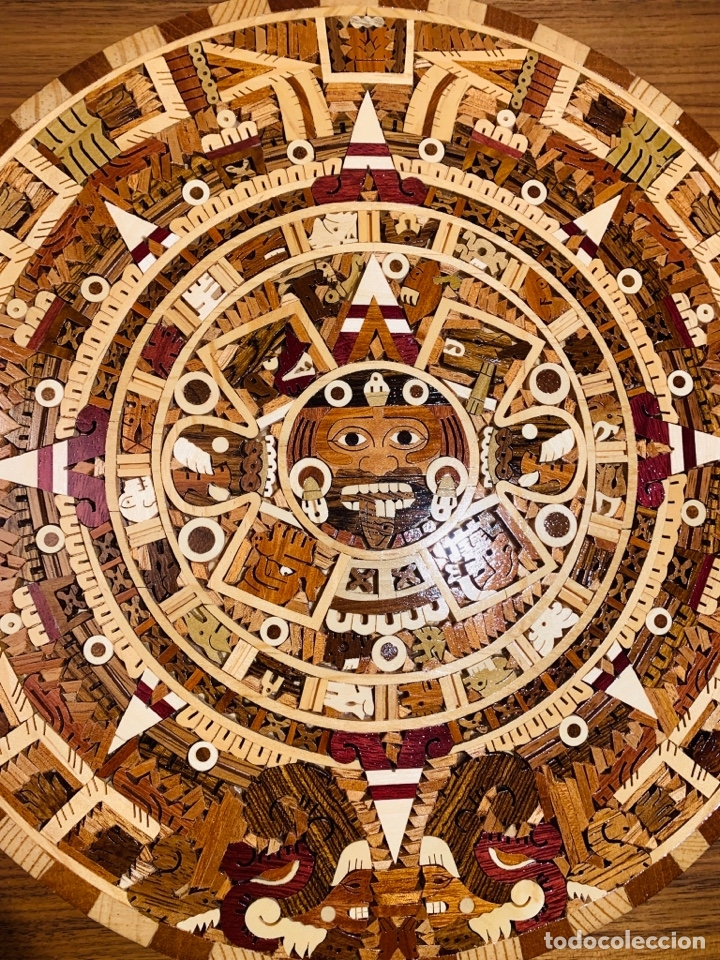 Arte: Calendario Azteca. Maderas finas tropicales. Alta calidad. Impecable. - Foto 17 - 177239413